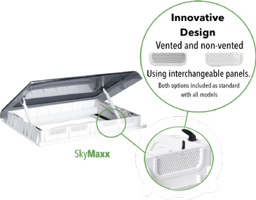 Maxxair Skymaxx LX Rooflight Vent 42-60mm with LED Lights (700 x 500mm)